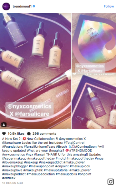 According to screenshots posted on Instagram, it looks like a NYX x Farsáli collaboration is in the pipeline.