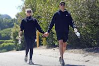 <p>Ashley Benson and G-Eazy walk hand-in-hand during a hike in Los Angeles on Monday.</p>