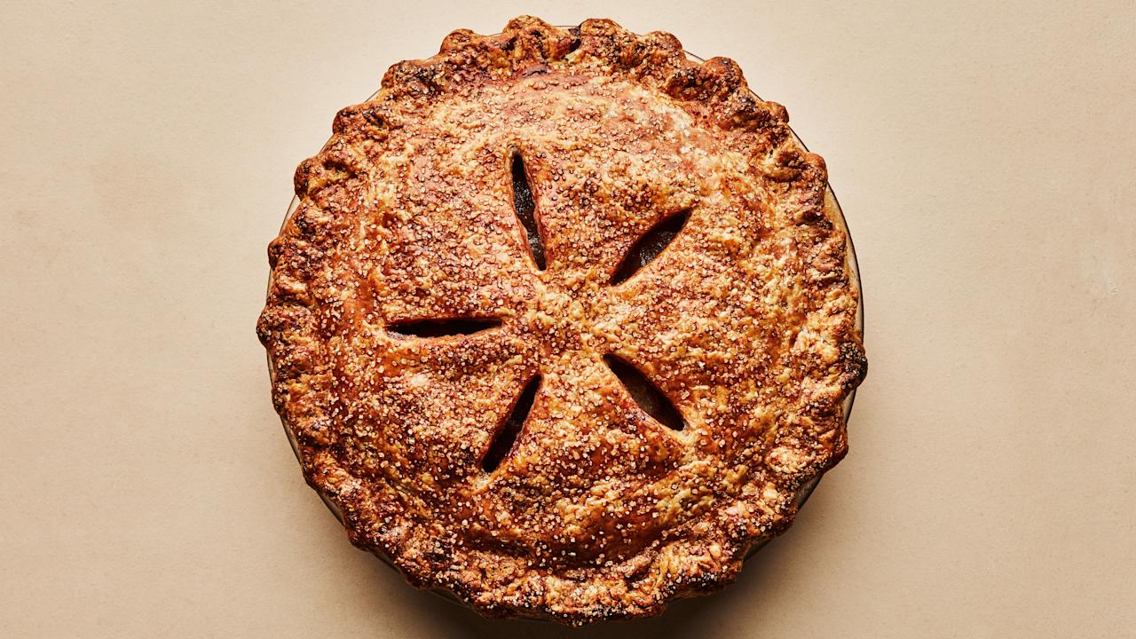 """A slice of apple pie with a slab of sharp cheddar on it is one of life's great gastronomical treasures. We took pains to bring every element—the flaky, cheesy dough, the spice-enriched filling, the fat slices of cheese—to their natural, excellent heights. <a href=""""https://www.bonappetit.com/recipe/apple-cheddar-pie?mbid=synd_yahoo_rss"""">See recipe.</a>"""