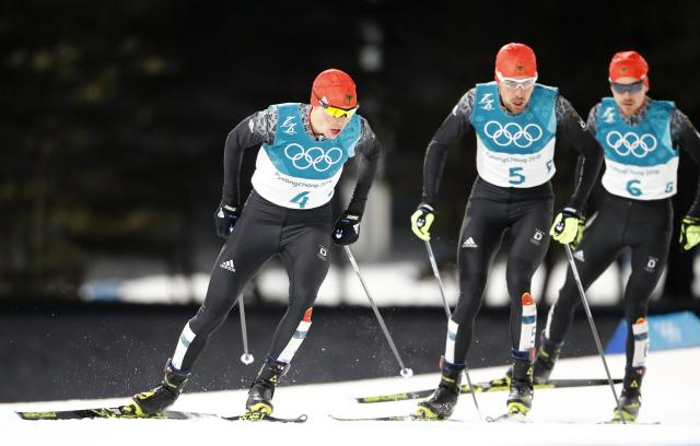 Nordic Combined Events - Pyeongchang 2018 Winter Olympics - Men's Individual 10 km Final - Alpensia Cross-Country Skiing Centre - Pyeongchang, South Korea - February 20, 2018 - Eric Frenzel of Germany, Johannes Rydzek of Germany and Fabian Riessle of Germany in action. REUTERS/Dominic Ebenbichler