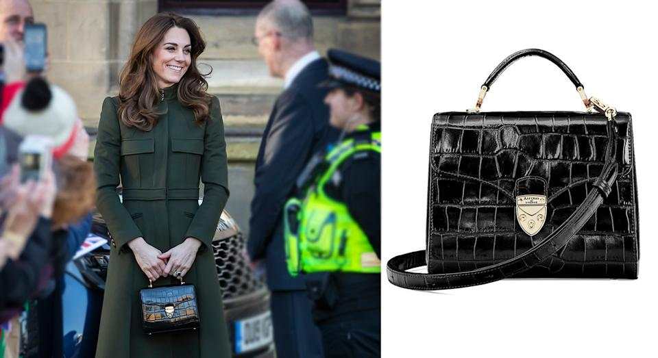 Kate debuted a new Aspinal of London bag in Bradford on Wedneday. [Photo: Getty]