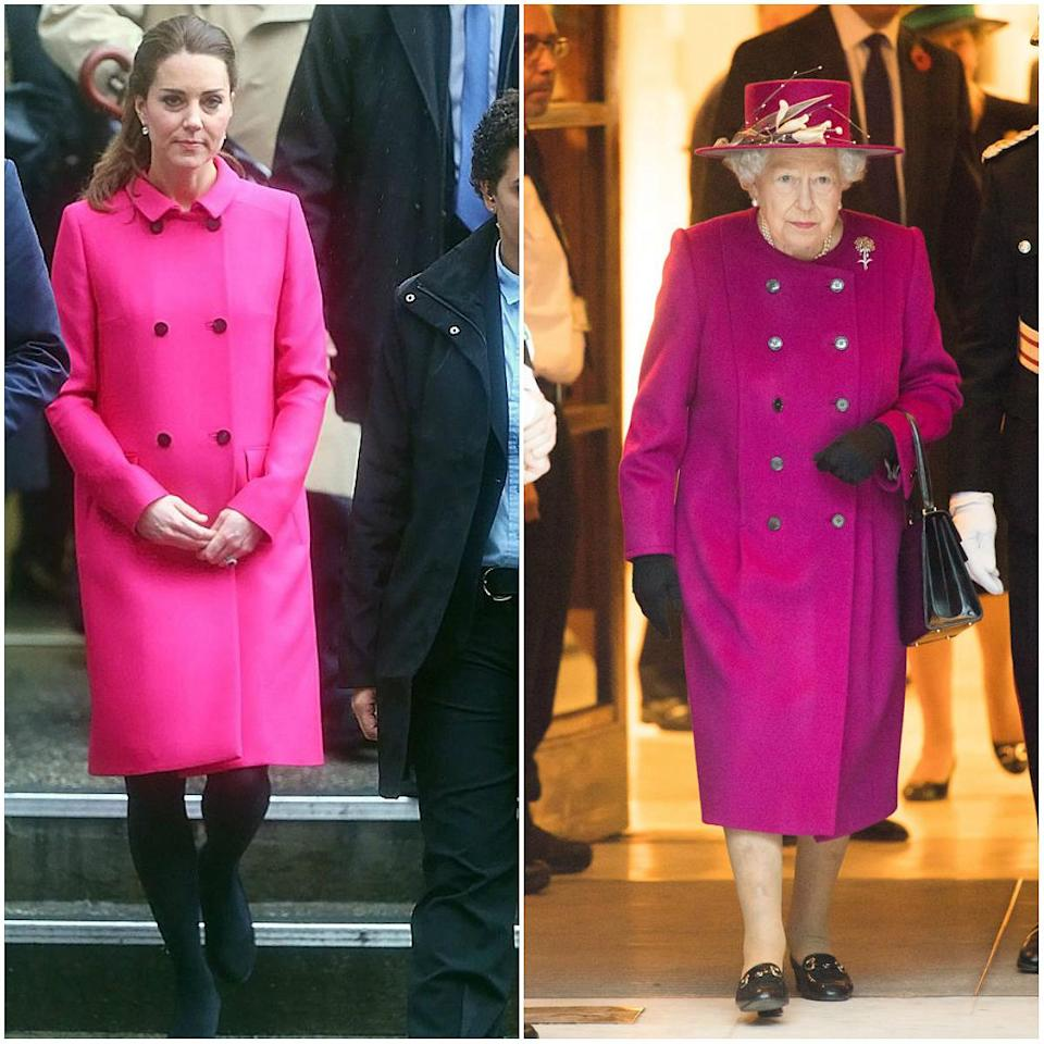 Kate wore the hot pink Mulberry coat during her royal trip to New York in December 2014, while the Queen wore a similar coat this week. <em>(Photos: Getty)</em>