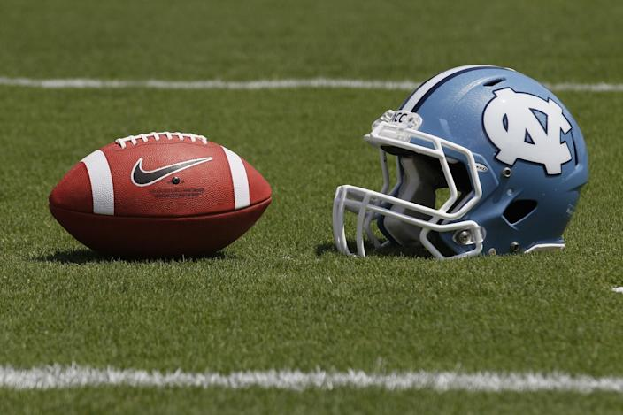 A North Carolina helmet is shown during the Tar Heel's NCAA college football media day in Chapel Hill, N.C., Saturday, Aug. 4, 2012. (AP Photo/Gerry Broome)