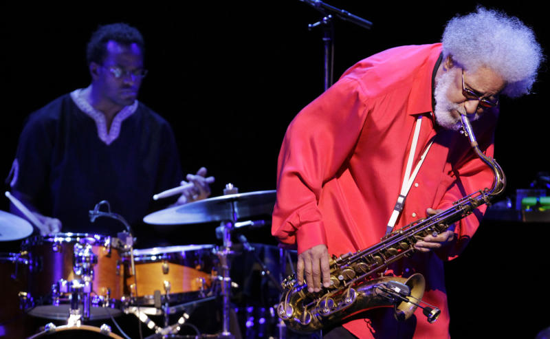FILE - In this Oct. 4, 2010 photo, jazz great Sonny Rollins performs during his concert in Tokyo. Rollins was a triple winner Wednesday, June 20, 2012 at the annual Jazz Awards, garnering musician of the year honors for the second straight year. (AP Photo/Junji Kurokawa)