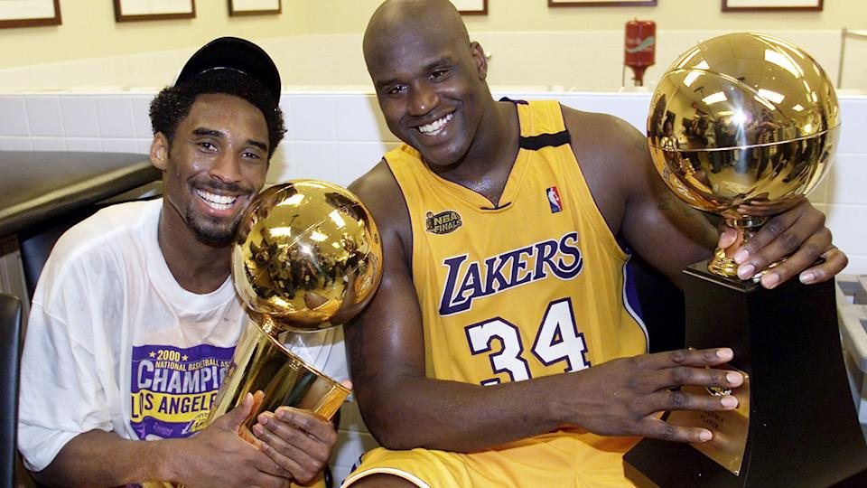 Kobe Bryant and Shaquille O'Neal, pictured here after winning the NBA Finals in 2000.