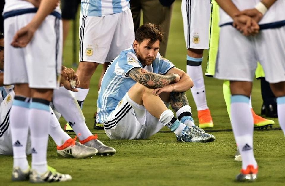 Argentina's Lionel Messi called a halt to his career with the national team after Argentina were defeated by Chile in the Copa America final (AFP Photo/Nicholas Kamm )