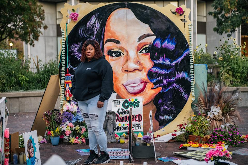 LOUISVILLE, KY - SEPTEMBER 21: Tamika Palmer, mother of Breonna Taylor, poses for a portrait in front of a mural of her daughter at Jefferson Square park on September 21, 2020 in Louisville, Kentucky. Demonstrators gathered to prepare for possible unrest in wake of the Grand Jury decision regarding the officers involved in the killing of Breonna Taylor. Taylor was fatally shot by Louisville Metro Police officers during a no-knock warrant at her apartment on March 13, 2020 in Louisville, Kentucky. Demonstrators have occupied the park for 118 days. (Photo by Brandon Bell/Getty Images)