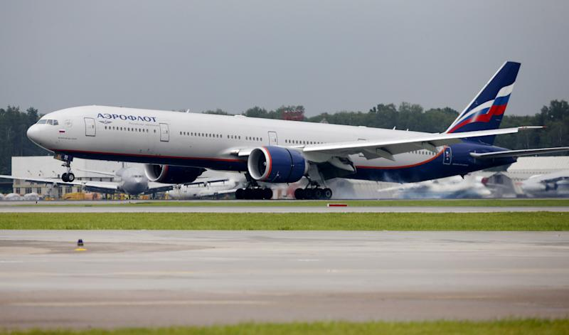 FILE PHOTO: An Aeroflot Boeing 777-300ER aircraft lands on a runway at Sheremetyevo International Airport outside Moscow