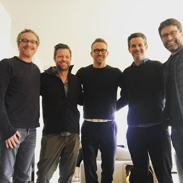 "<p>""Hard at work on Deadpool 2: Ragnarock,"" Reynolds quipped in this April 1 shot of the film's brain trust. (Photo: <a href=""https://www.instagram.com/p/BSW47FOjb4T/"" rel=""nofollow noopener"" target=""_blank"" data-ylk=""slk:vancityreynolds/Instagram"" class=""link rapid-noclick-resp"">vancityreynolds/Instagram</a>) </p>"