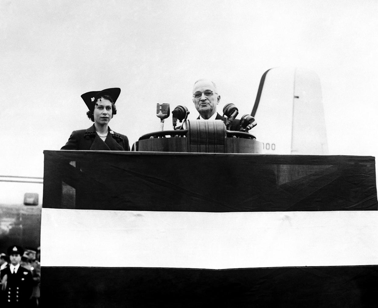 President Harry Truman welcoming his guest Princess Elizabeth to Washington D.C, on her arrival.