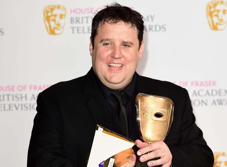 Kay accepting his BAFTA for Car Share, in 2016. (PA)