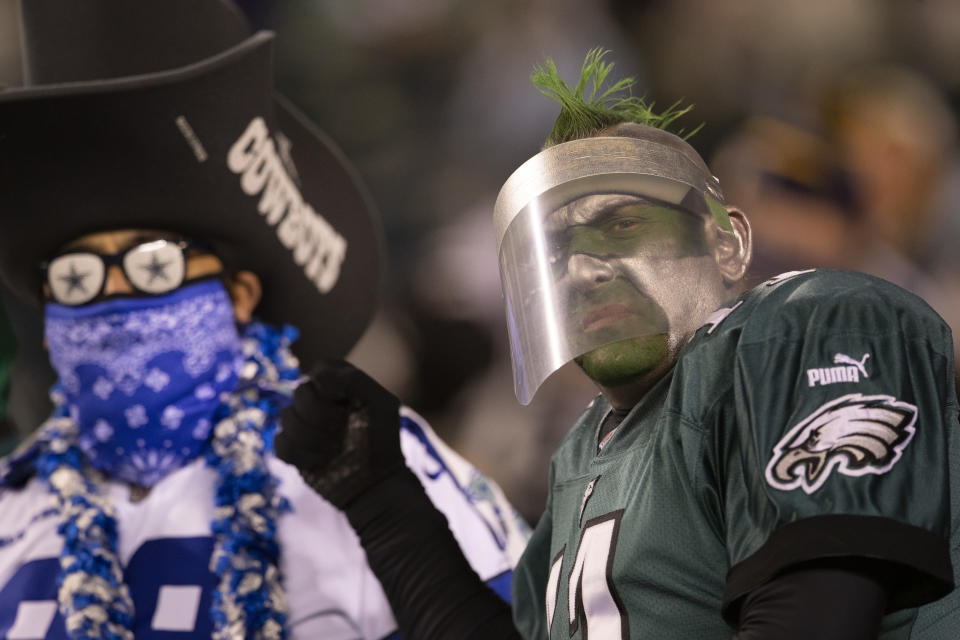 PHILADELPHIA, PA - NOVEMBER 01: A Dallas Cowboys and Philadelphia Eagles fan look on during the game at Lincoln Financial Field on November 1, 2020 in Philadelphia, Pennsylvania. (Photo by Mitchell Leff/Getty Images)