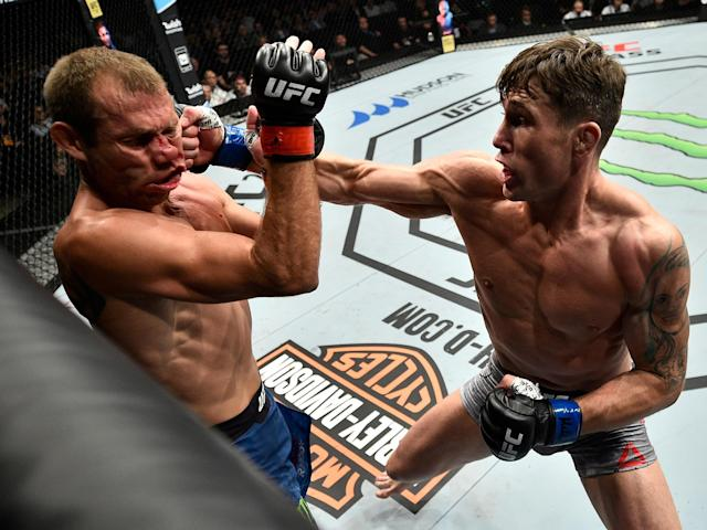 Darren Till (R) stopped Donald Cerrone (L) in the first round last October in Gdansk, Poland. (Getty)