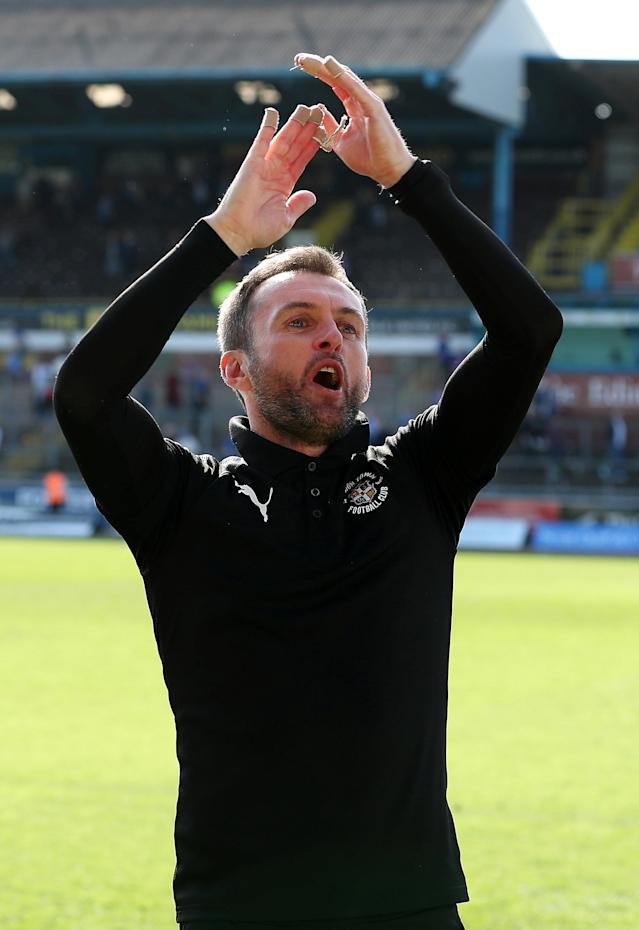 "Soccer Football - League Two - Carlisle United v Luton Town - Brunton Park, Carlisle, Britain - April 21, 2018 Luton Town manager Nathan Jones celebrate promotion after the game Action Images/John Clifton EDITORIAL USE ONLY. No use with unauthorized audio, video, data, fixture lists, club/league logos or ""live"" services. Online in-match use limited to 75 images, no video emulation. No use in betting, games or single club/league/player publications. Please contact your account representative for further details."