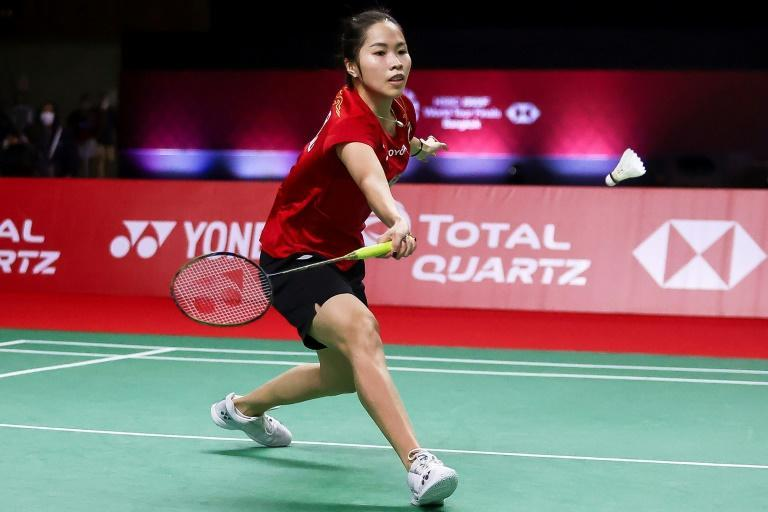 Thailand's Ratchanok Inthanon on her way to victory over India's PV Sindhu during their women's singles match in Bangkok