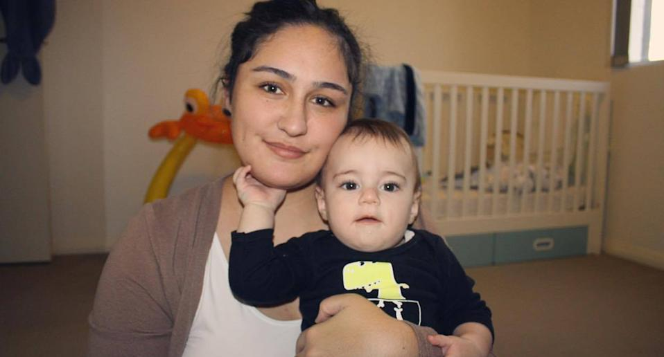 Jasmine Barnett pictured with her son who found a needle in a liverpool park.