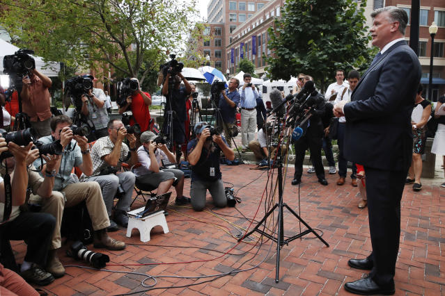 <p>Kevin Downing, with the defense team for Paul Manafort, speaks briefly to the media as he leaves federal court after jury deliberation finished for the day in the trial of the former Donald Trump campaign chairman, in Alexandria, Va., Friday, Aug. 17, 2018. (Photo: Jacquelyn Martin/AP) </p>