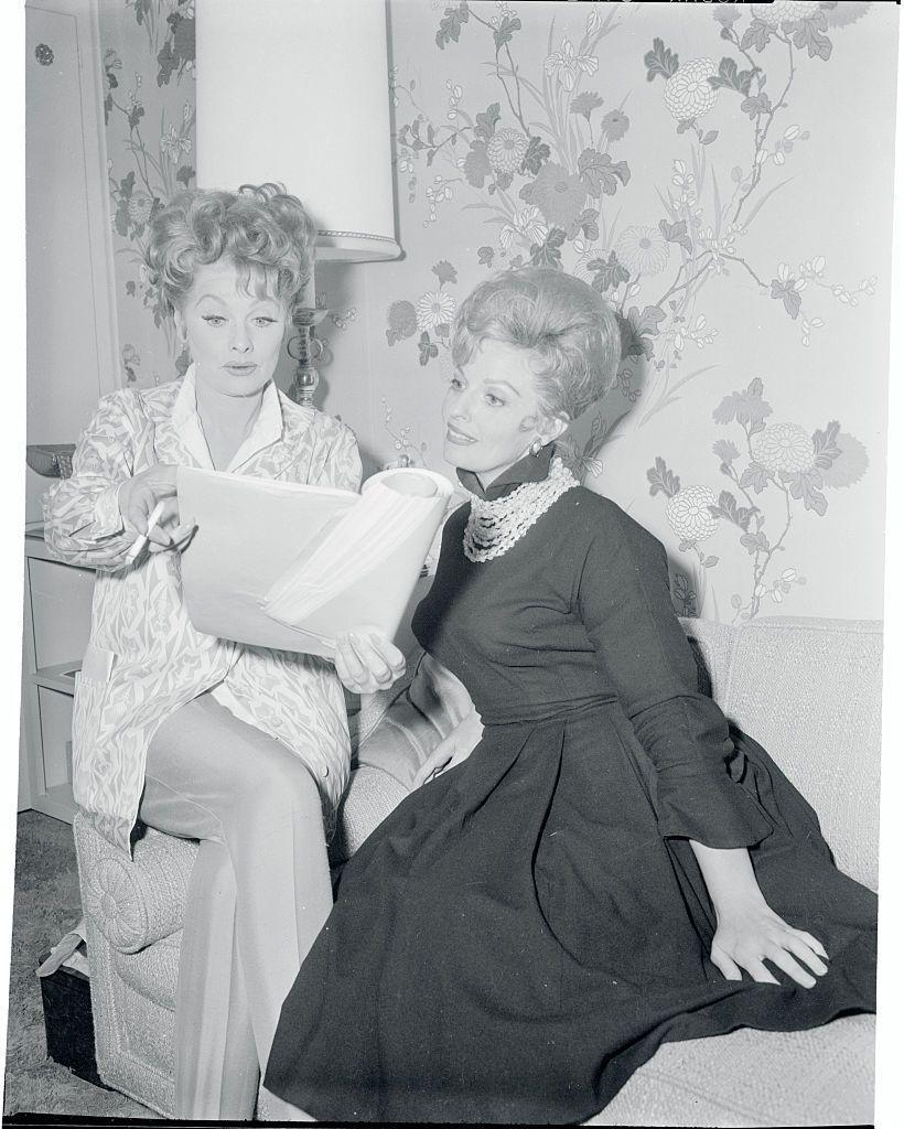 <p>Lucille offers advice to comedian Carole Cook, who she discovered, before the up-and-coming actress's first major film role in <em>The Incredible Mr. Limpet.</em></p>