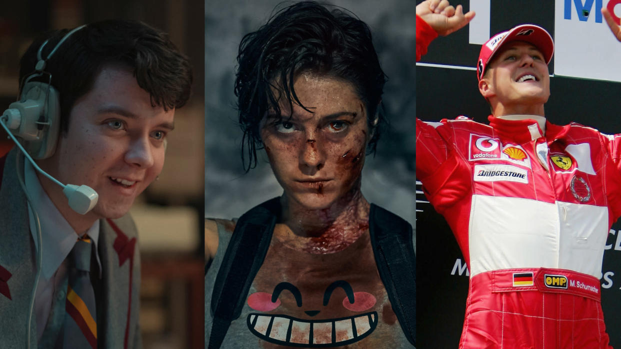 'Sex Education', 'Kate' and 'Schumacher' are all heading to Netflix UK in September 2021. (Netflix/Sam Taylor/Jasin Boland/Clive Rose/Getty Images)