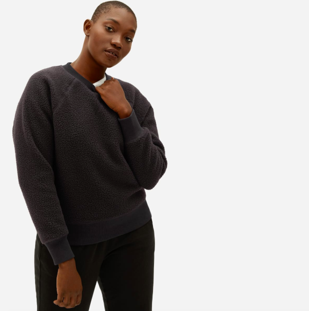 The ReNew Fleece Raglan Sweatshirt in Black. Image via Everlane.