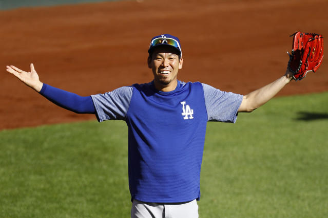 Los Angeles Dodgers' Kenta Maeda warms up prior to a baseball game against the St. Louis Cardinals, Thursday, Sept. 13, 2018, in St. Louis. (AP Photo/Billy Hurst)