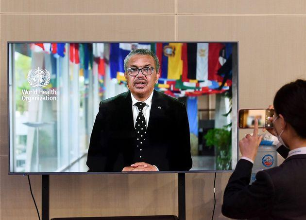 Tedros Adhanom Ghebreyesus, director-general of the World Health Organization, delivers a speech via video link at the opening ceremony of the 2nd Conference of Global Health Forum of Boao Forum for Asia in Qingdao, east China's Shandong Province, June 2, 2021. (Photo by Li Ziheng/Xinhua via Getty Images) (Photo: Xinhua News Agency via Getty Images)
