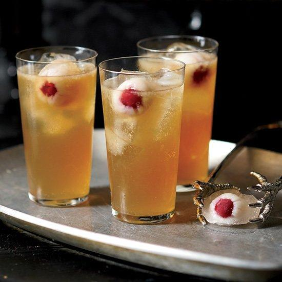 "<p>This is Grace Parisi's take on the Dark and Stormy, a classic rum and ginger beer drink. Floating in the punch bowl are round ice cubes made with lychee syrup and lychees stuffed with brandied cherries, which have an uncanny resemblance to eyeballs.</p><p><a href=""https://www.foodandwine.com/recipes/dark-and-stormy-death-punch"">GO TO RECIPE</a></p>"