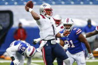 New England Patriots' Cam Newton (1) throws a pass during the first half of an NFL football game against the Buffalo Bills Sunday, Nov. 1, 2020, in Orchard Park, N.Y. (AP Photo/John Munson)