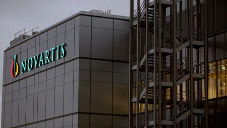 FILE PHOTO: Swiss drugmaker Novartis' logo is seen at the company's plant in the northern Swiss town of Stein, Switzerland October 23, 2017.   REUTERS/Arnd Wiegmann/File Photo