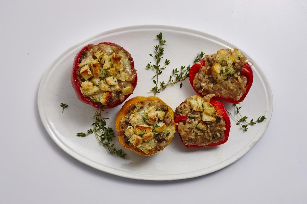 "<p>This decadent twist on the classic stuffed bell pepper is sure to be fast favorite. Inspired by a bowl of intensely savory and satisfying French onion soup, these stuffed peppers feature a rich gravy that coats the beef and rice filling, as well as gooey gruyere cheese, and toasty sourdough bread.</p> <p><a href=""https://www.myrecipes.com/recipe/french-onion-stuffed-peppers"">French Onion Stuffed Peppers Recipe</a></p>"
