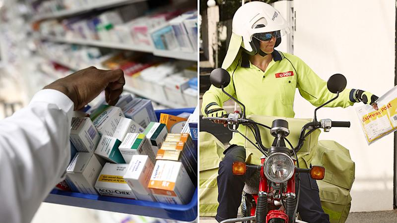 Pictured is a pharmacist sifting through medications (left) and an Australia Post delivery driver (right).