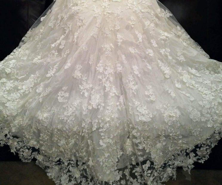 A detail of the Ian Stuart gown and train Aly sent to Amber McGraw.