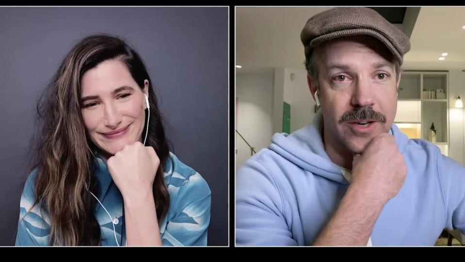 A woman and a man in a hate talk virtually in split screen