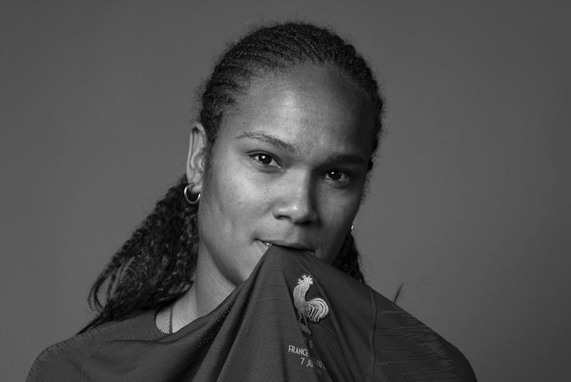 PARIS, FRANCE - JUNE 04: (EDITORS NOTE: Image has been converted to black and white.) Wendie Renard of France poses for a portrait during the official FIFA Women's World Cup 2019 portrait session at Hotel Clairefontaine on June 04, 2019 in Paris, France. (Photo by Catherine Ivill - FIFA/FIFA via Getty Images)