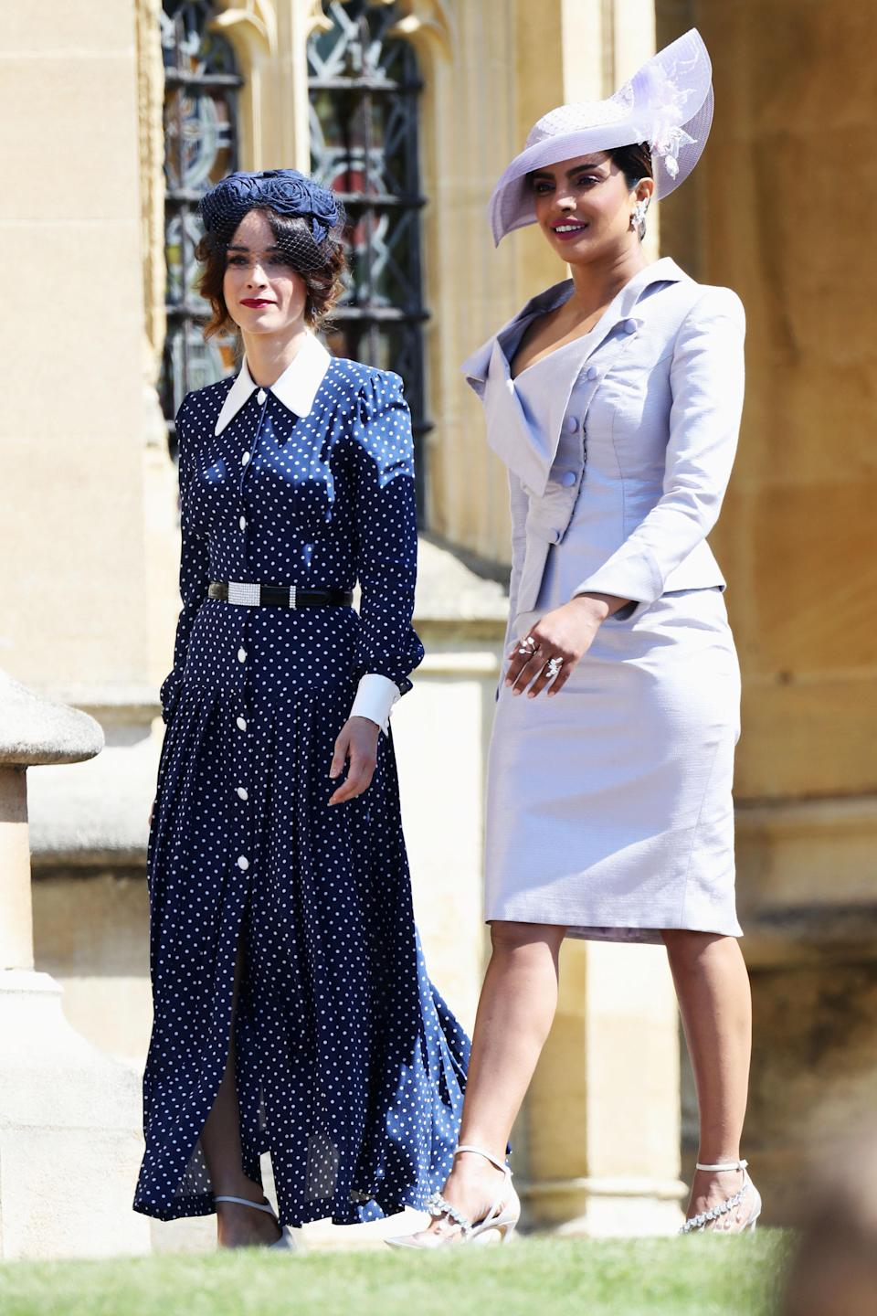 <p>Priyanka Chopra attended Harry and Meghan's wedding in a lavender-hued co-ord by Vivienne Westwood. She later changed into a dior gown. <em>[Photo: Getty]</em> </p>