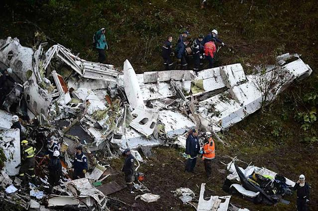 The LAMIA airlines charter crash killed most of Chapecoense's squad and 20 journalists traveling with them to the finals of South America's second-largest club tournament (AFP Photo/Raul Arboleda)