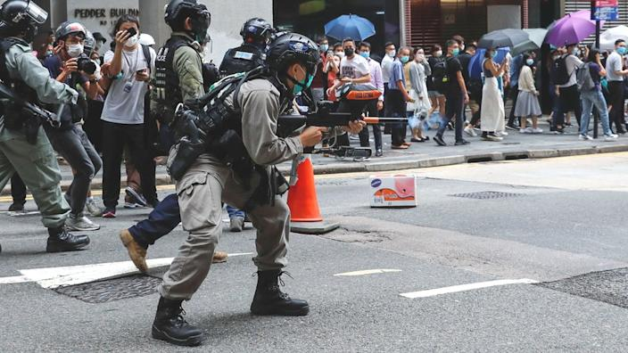 Thousands of police officers have been deployed across Hong Kong