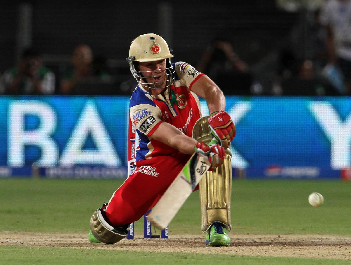Royal Challengers Bangalore player AB De Villiers plays a shot during match 46 of the Pepsi Indian Premier League ( IPL) 2013  between The Pune Warriors India and the Royal Challengers Bangalore held at the Subrata Roy Sahara Stadium, Pune on the 2nd May 2013..Photo by Vipin Pawar-IPL-SPORTZPICS  ..Use of this image is subject to the terms and conditions as outlined by the BCCI. These terms can be found by following this link:..https://ec.yimg.com/ec?url=http%3a%2f%2fwww.sportzpics.co.za%2fimage%2fI0000SoRagM2cIEc&t=1493453025&sig=jzwSuLdYydFxw2c9TEKSEQ--~C
