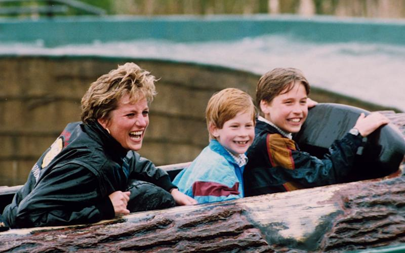 Diana, Princess of Wales, with Prince Harry and Prince William in 1993 - Rex Features