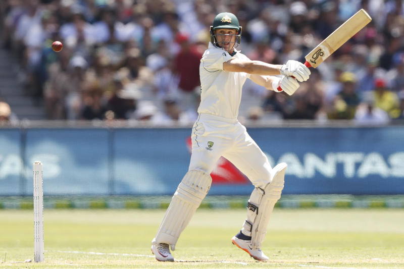 Marnus Labuschagne of Australia bats during day one of the Second Test match in the series between Australia and New Zealand at Melbourne Cricket Ground on December 26, 2019 in Melbourne, Australia. (Photo by Darrian Traynor/Getty Images=