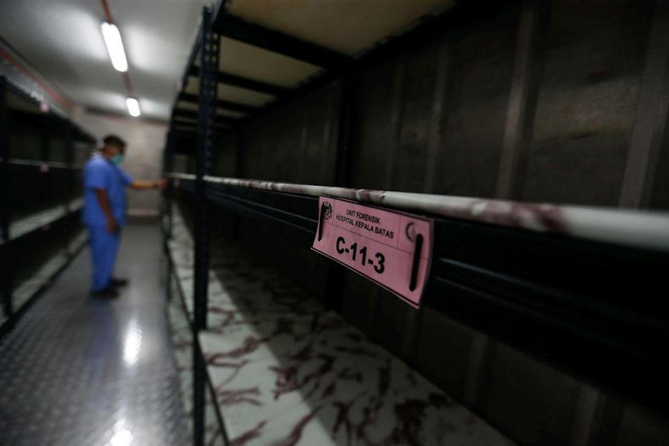 A container which doubles as a morgue is pictured at the Kepala Batas Hospital in Penang August 20, 2021. ― Picture by Sayuti Zainudin