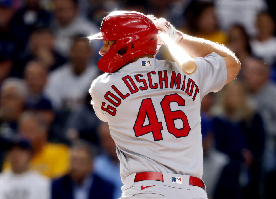 St. Louis Cardinals' Paul Goldschmidt bats during the seventh inning of a baseball game against the Milwaukee Brewers, Thursday, Sept. 23, 2021, in Milwaukee. (AP Photo/Jeffrey Phelps)