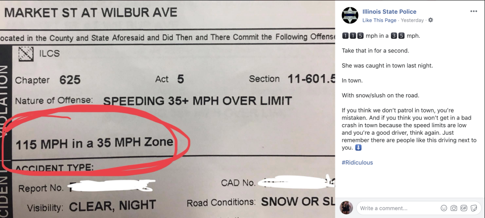 Illinois State Police posted a photo of the citation given to a woman who was caught driving 115 mph. (Photo: Illinois State Police via Facebook)