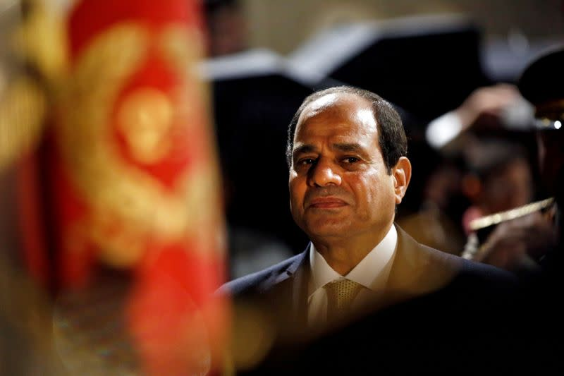 FILE PHOTO: Egyptian President Abdel Fattah al-Sisi reviews the troops at the Defense Ministry in Paris