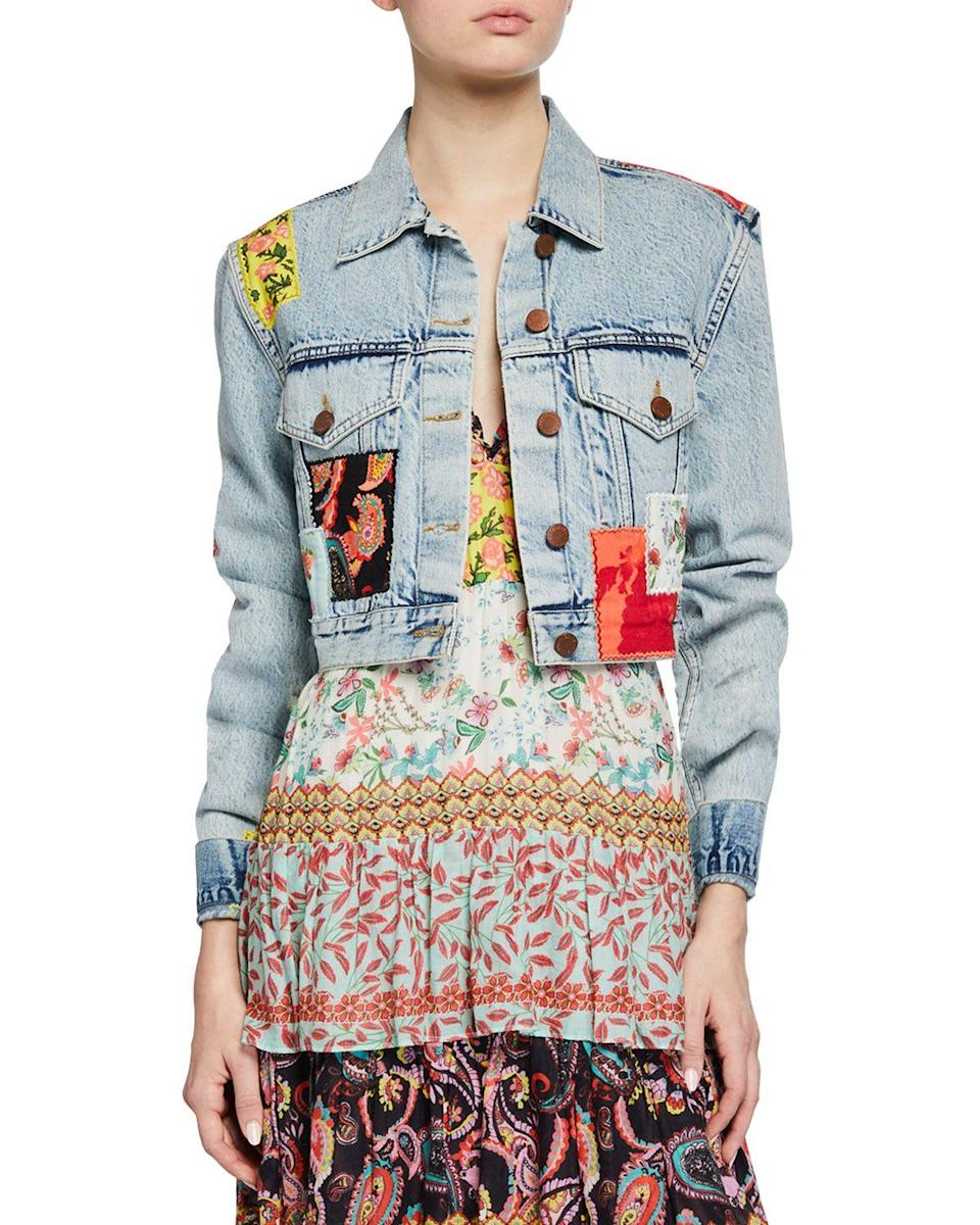 """<p><strong>ALICE + OLIVIA JEANS</strong></p><p>neimanmarcus.com</p><p><strong>$165.90</strong></p><p><a href=""""https://www.neimanmarcus.com/p/alice-olivia-jeans-cropped-boxy-jacket-with-patchwork-prod230090176"""" rel=""""nofollow noopener"""" target=""""_blank"""" data-ylk=""""slk:Shop Now"""" class=""""link rapid-noclick-resp"""">Shop Now</a></p><p>Denim jackets are a must for breezy days. You might as well upgrade your collection with this standout option.</p>"""