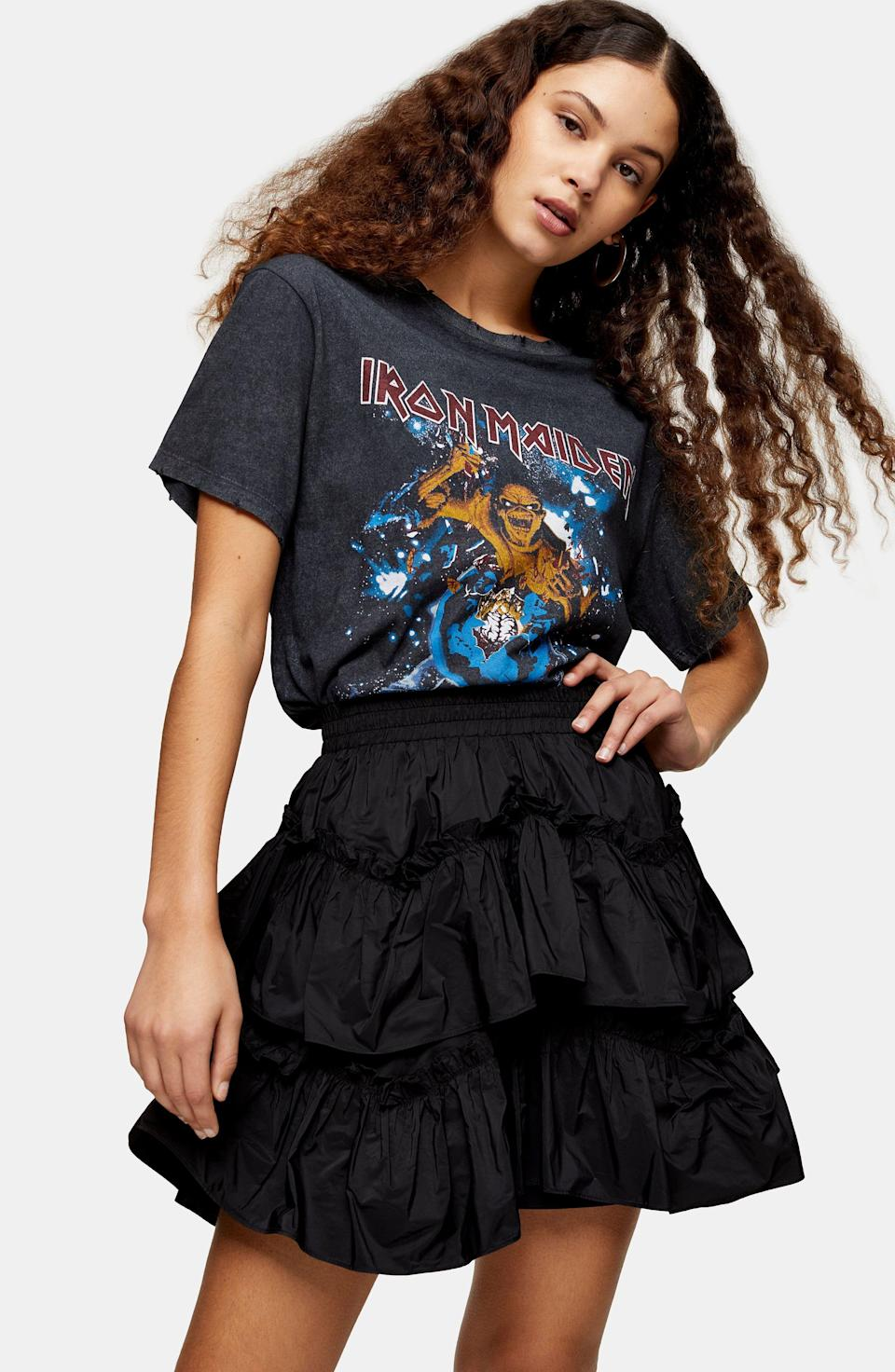 """<p><strong>Topshop</strong></p><p>nordstrom.com</p><p><strong>$27.50</strong></p><p><a href=""""https://go.redirectingat.com?id=74968X1596630&url=https%3A%2F%2Fshop.nordstrom.com%2Fs%2Ftopshop-taffeta-ruffle-miniskirt%2F5604877&sref=https%3A%2F%2Fwww.cosmopolitan.com%2Fstyle-beauty%2Ffashion%2Fg30933395%2Ffall-fashion-trends-2020%2F"""" rel=""""nofollow noopener"""" target=""""_blank"""" data-ylk=""""slk:Shop Now"""" class=""""link rapid-noclick-resp"""">Shop Now</a></p><p>If you want something a little more casual, try a skirt with a graphic tee. </p>"""
