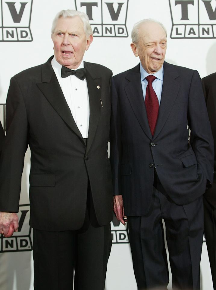 HOLLYWOOD, CA - MARCH 7: Actor Andy Griffith with his award and actor Don Knotts pose backstage at the 2nd Annual TV Land Awards held on March 7, 2004 at The Hollywood Palladium, in Hollywood, California. (Photo by Frederick M. Brown/Getty Images)