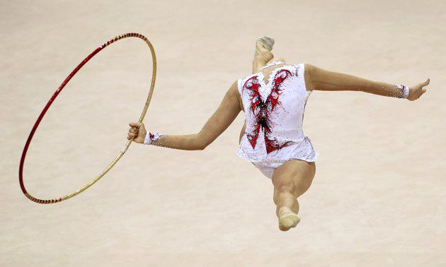 Austria's Nicol Ruprecht performs during the individual hoop competition at the 27th Rhythmic Gymnastics European Championship in Minsk, May 27, 2011. (REUTERS/Vasily Fedosenko)