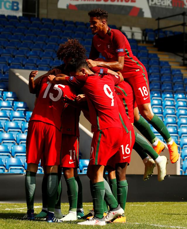 Soccer Football - UEFA European Under-17 Championship - Group B - Slovenia v Portugal - Proact Stadium, Chesterfield, Britain - May 7, 2018 Portugal's Bernardo Silva celebrates with team mates after scoring their second goal Action Images via Reuters/Jason Cairnduff