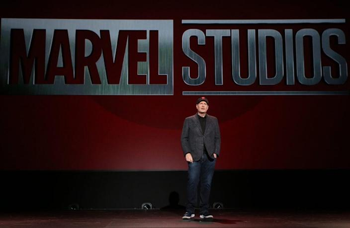 President of Marvel Studios Kevin Feige took part today in the Walt Disney Studios presentation at Disney's D23 EXPO 2019 in Anaheim, Calif. (Photo by Jesse Grant/Getty Images for Disney)